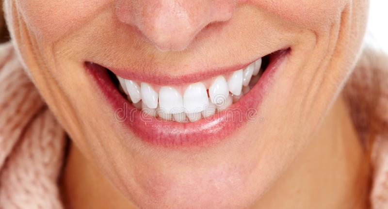uśmiechów zamknięci zęby up kobiety fotografia royalty free