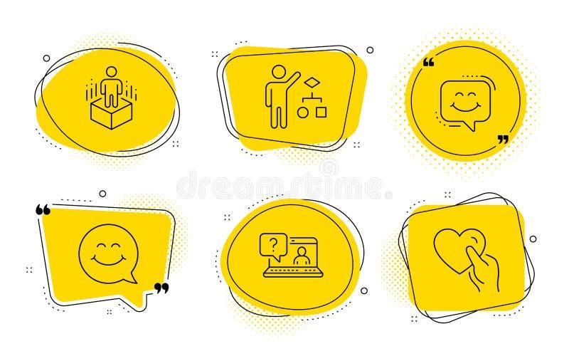 Uśmiech, algorytm i ikony rzeczywistości rozszerzonej Znaki Faq, Smile Chat and Hold heart Wektor royalty ilustracja