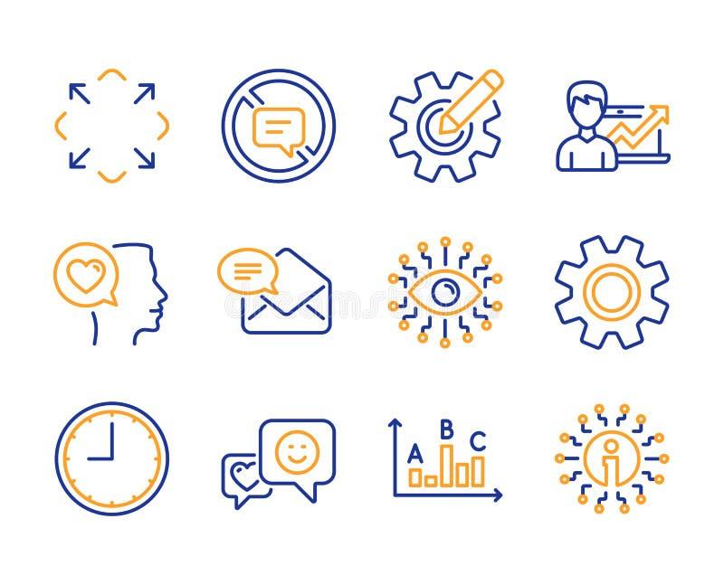 Uśmiech, czas i Nowe poczt ikony ustawiający, Romantyczna rozmowa, sukcesu biznes i przerwa opowiada znaki, wektor ilustracji