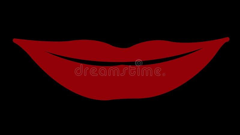 Uśmiech czerwone wargi z czarnym odosobnionym tłem ilustracji
