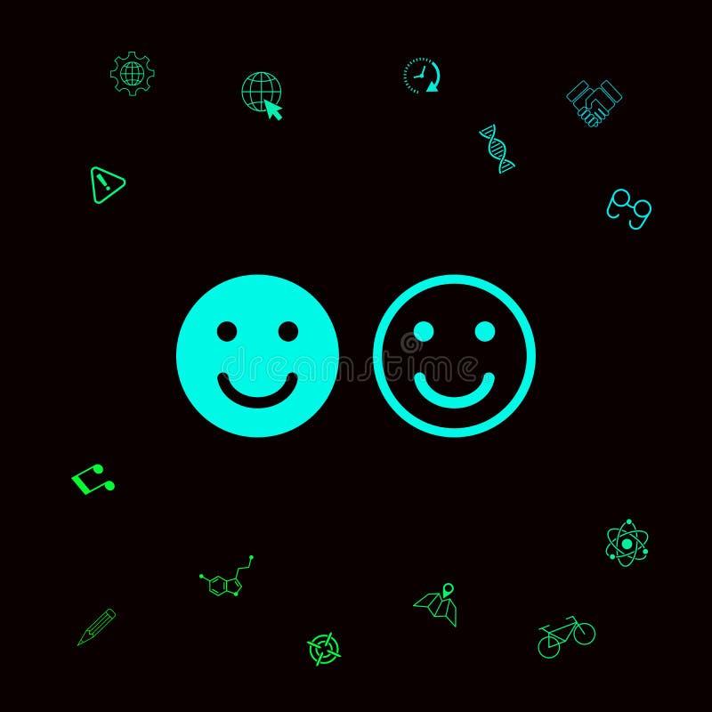 Uśmiech ikona Szczęśliwy twarz symbol dla twój strona internetowa projekta Graficzni elementy dla twój designt royalty ilustracja