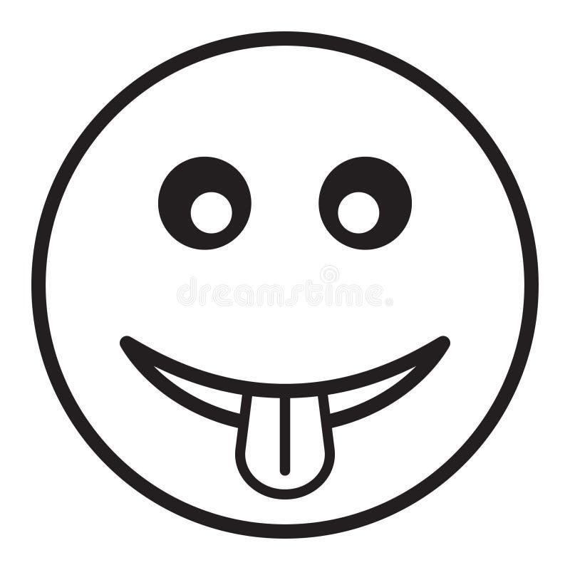 Uśmiech ikona w modnym mieszkanie stylu, emoticon pokazuje jęzor ikonę ilustracja wektor