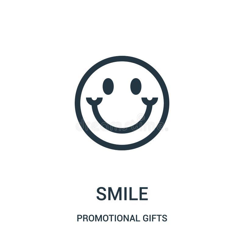 uśmiech ikony wektor od promocyjnych prezentów inkasowych Cienka kreskowa uśmiechu konturu ikony wektoru ilustracja Liniowy symbo royalty ilustracja