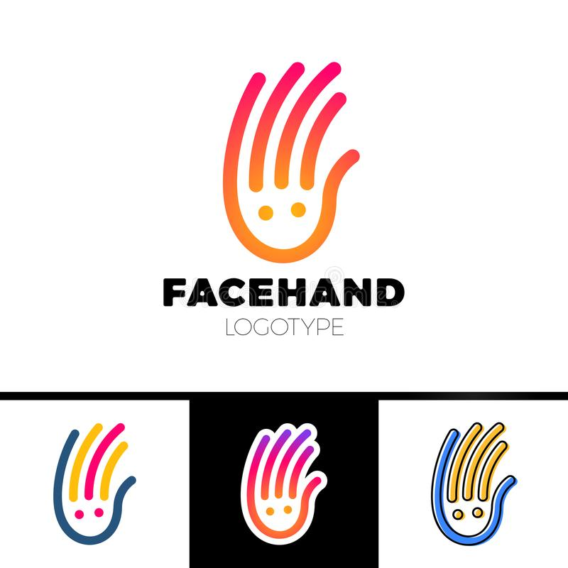 Uśmiech linii ręki logotyp lub opieka nad dzieckiem loga Centrum projekt royalty ilustracja