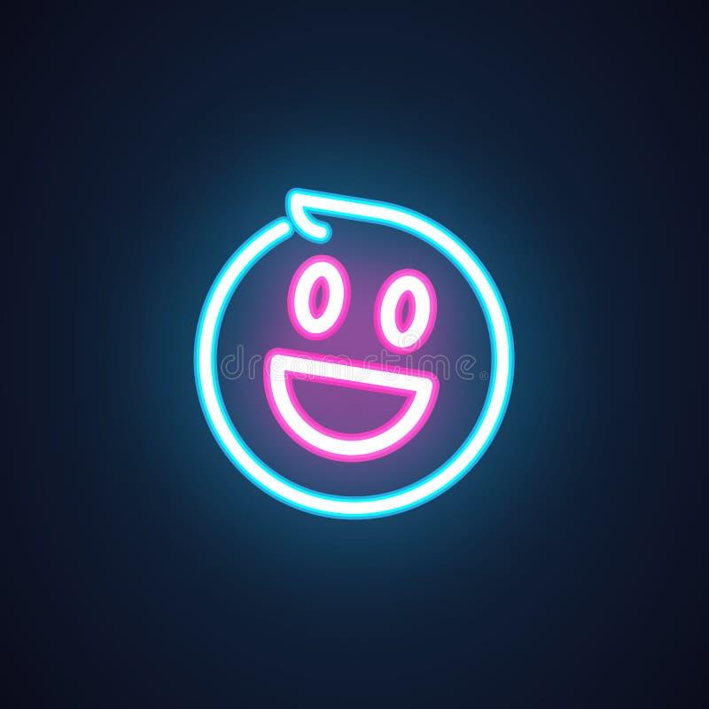 Uśmiech neonowa ikona Szczęśliwy emoji iluminaci symbol Etykietka odizolowywająca na czerni Element interfejs lub promocyjne rzec royalty ilustracja