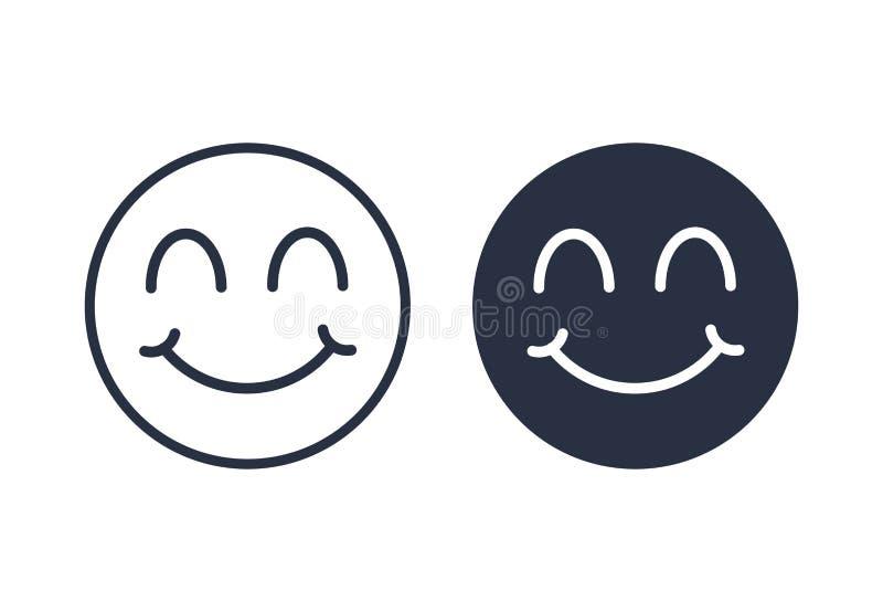 Uśmiech twarz z zamkniętym oko ikony logo Uśmiecha się ikony ustawia liniowego i stałego w modnym mieszkanie stylu odizolowywając royalty ilustracja