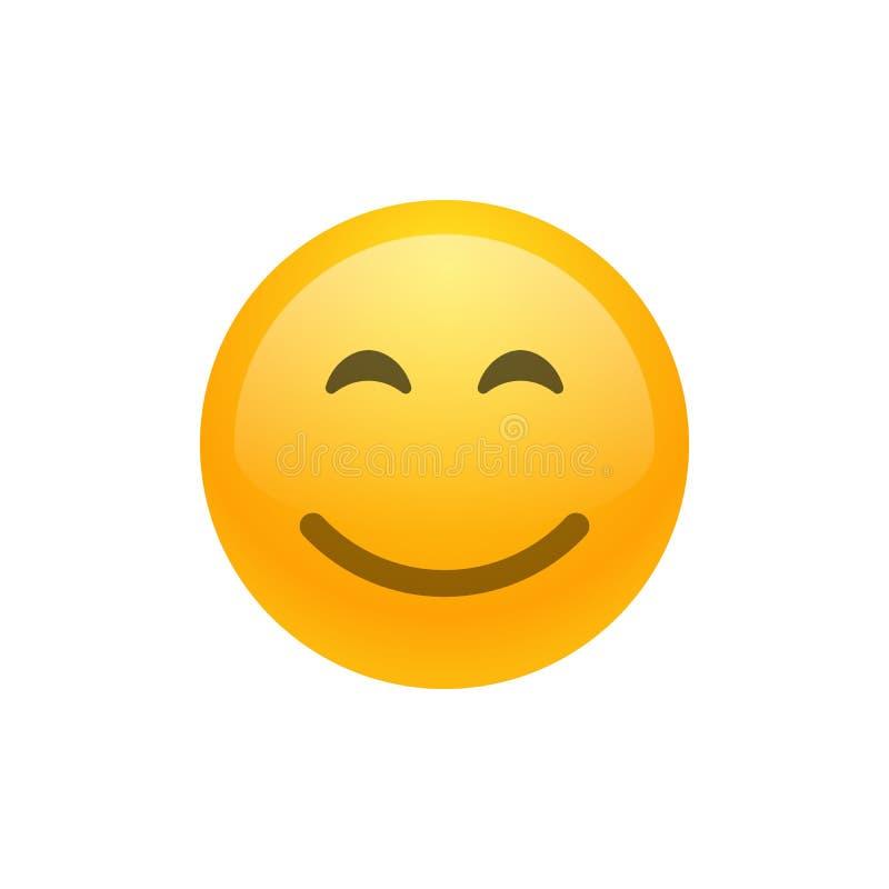 Uśmiech twarzy emoji wektoru ikona royalty ilustracja