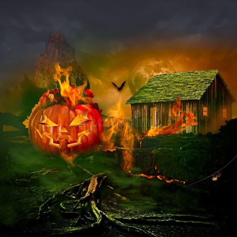 Uśmiechać się Rzeźbiącego Jack O Latarniowy Halloweenowy Dyniowy palenie Nawiedzającego dom obraz stock