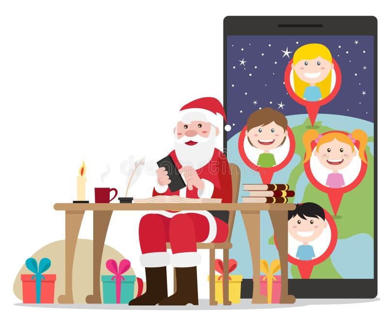 Uśmiechać się Santa obsiadanie w jego krześle planuje jego drogę z teraźniejszość dla wszystkie dobrych dzieciaków ilustracji