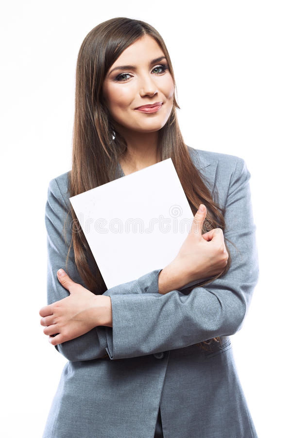 Uśmiecha się Biznesowej kobiety portret z pustą białą deską obraz stock