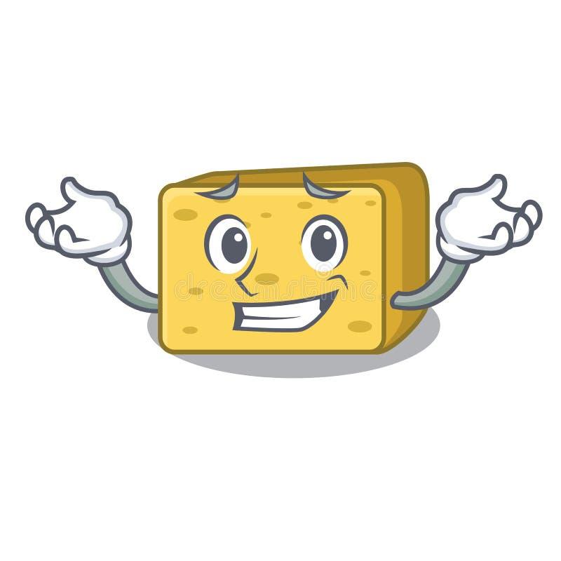 Uśmiechający się charakteru gouda świeży ser ilustracja wektor
