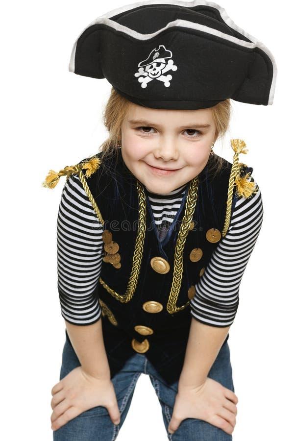 Uśmiechający się mała dziewczynka pirat fotografia royalty free