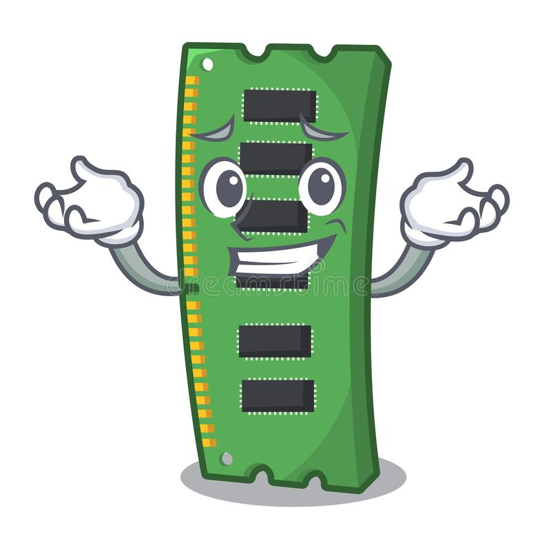 Uśmiechający się RAM karta pamięci maskotka kształt royalty ilustracja