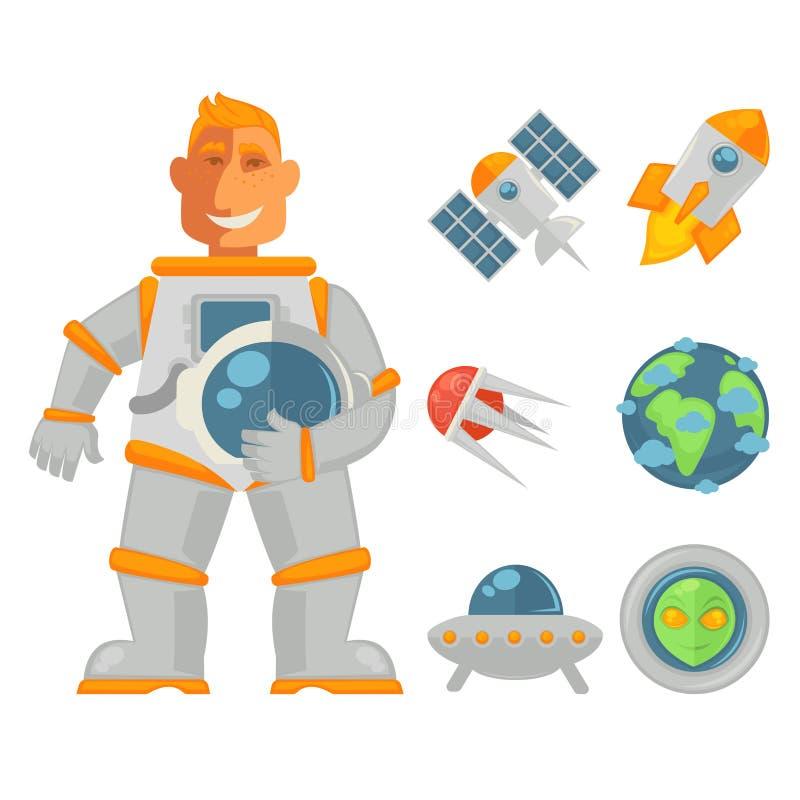 Uśmiechnięci astronauta mienia hełma przestrzeni przedmioty ustawiający blisko ilustracja wektor