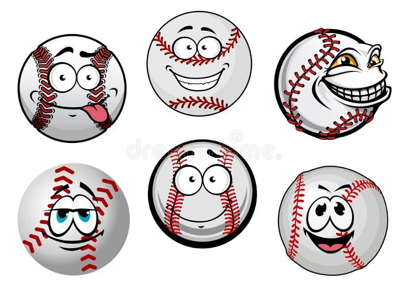 Uśmiechnięci baseball piłek postać z kreskówki ilustracja wektor