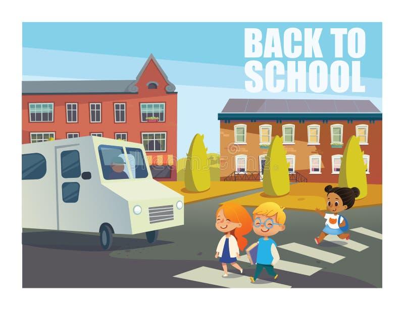 Uśmiechnięci dzieci krzyżuje ulicę przed autobusem Szczęśliwi dzieciaki chodzi przez zwyczajnego crosswalk przeciw budynkom dalej royalty ilustracja