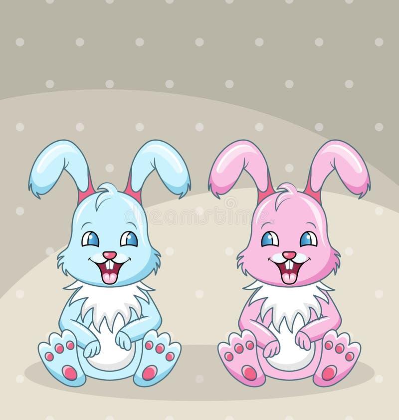 Uśmiechnięci króliki najlepsi przyjaciele, chłopiec i dziewczyna -, Szczęśliwi króliki ilustracja wektor