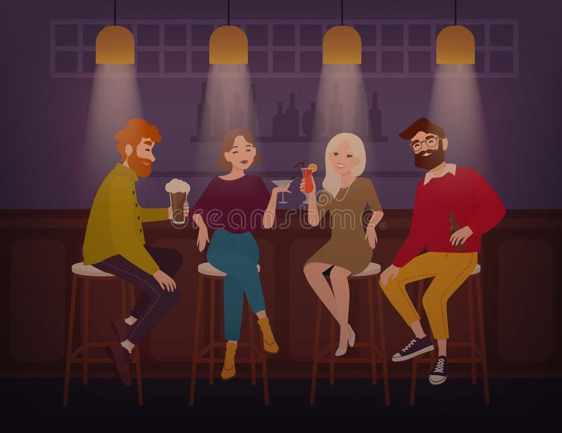 Uśmiechnięci mężczyzna i kobiety ubierali w eleganckim ubraniowym obsiadaniu przy barem opowiada alkoholicznych napoje i pije, ro royalty ilustracja