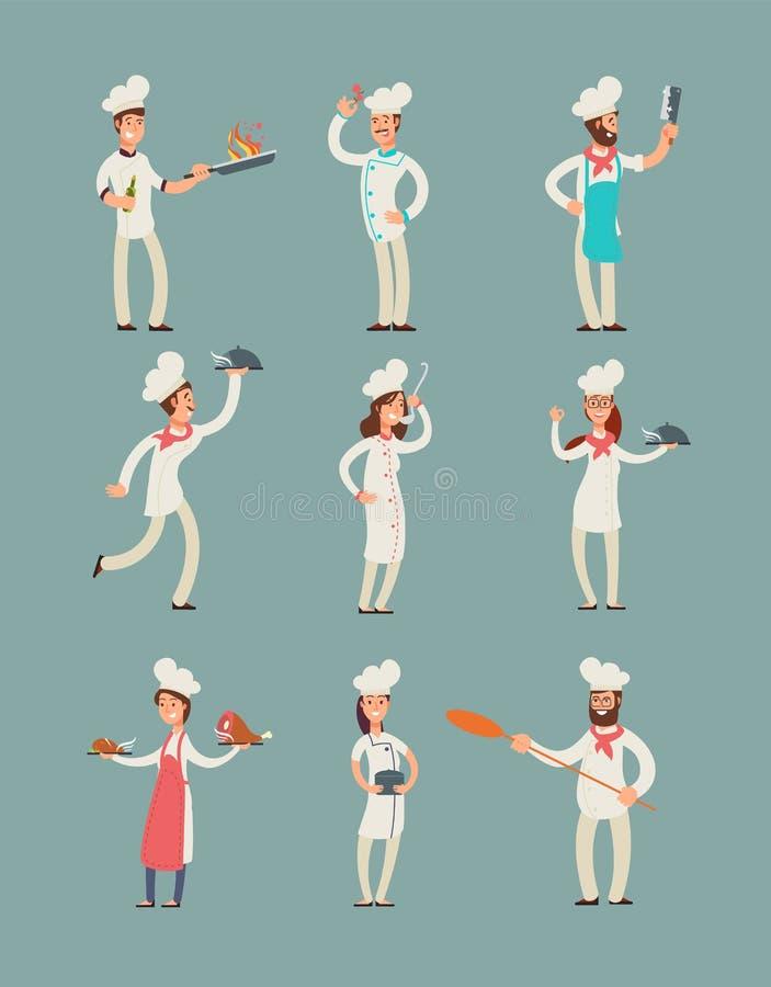 Uśmiechnięci restauracyjni szefowie kuchni, fachowi kucharzi w kuchni mundurują wektorowych postać z kreskówki ustawiających royalty ilustracja