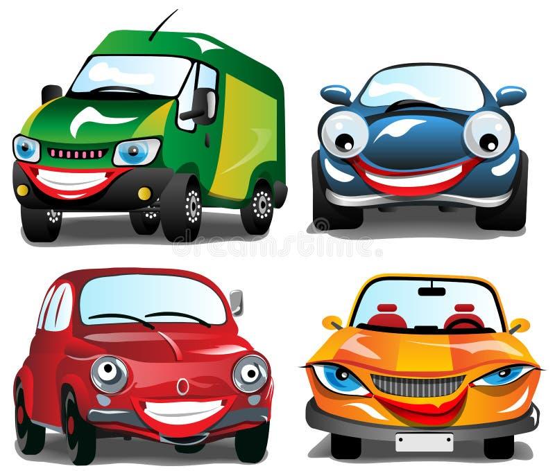 Uśmiechnięci samochody royalty ilustracja