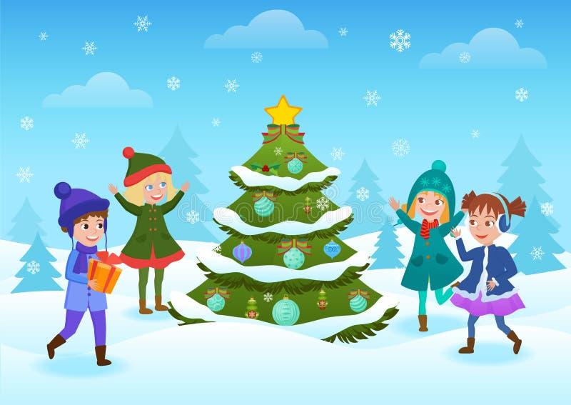 Uśmiechnięci szczęśliwi dzieciaki ma zabawy pozycję przy dekorującą choinką w zimy zimy wakacji lasowej karcie ilustracji