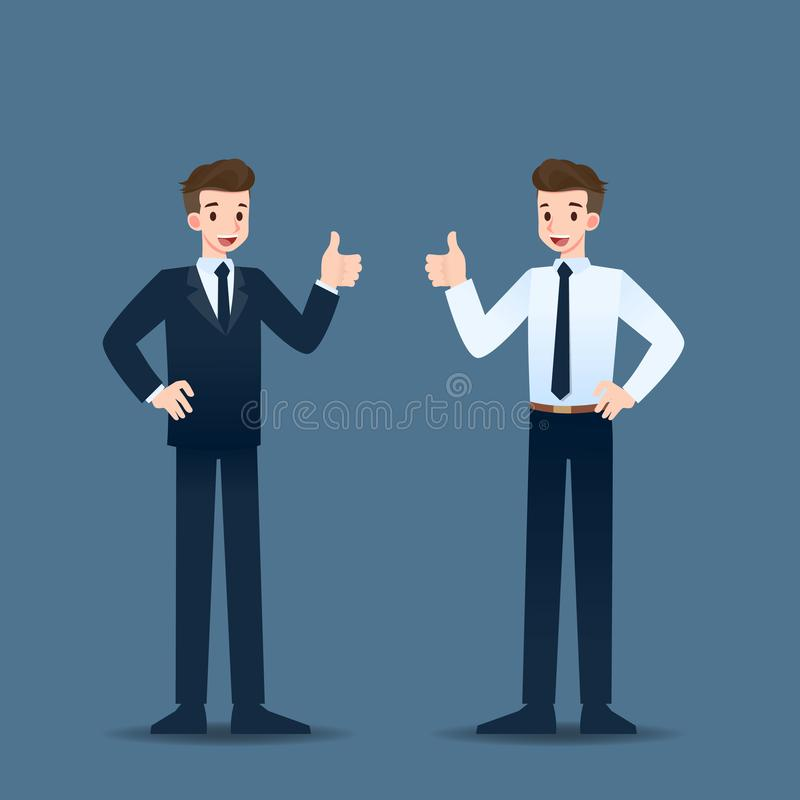 Uśmiechnięta biznesmen pozycja, kciuk do rozochoconego dla jego pomyślnej kariery i ilustracji