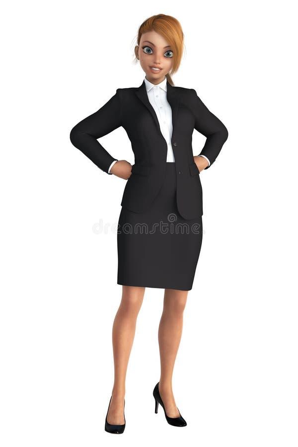 Uśmiechnięta Biznesowa kobieta W Czarnym kostiumu ilustracja wektor