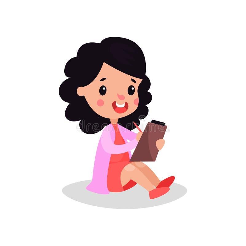 Uśmiechnięta brunetki dziewczyny lekarka w fachowej odzieży ilustracji