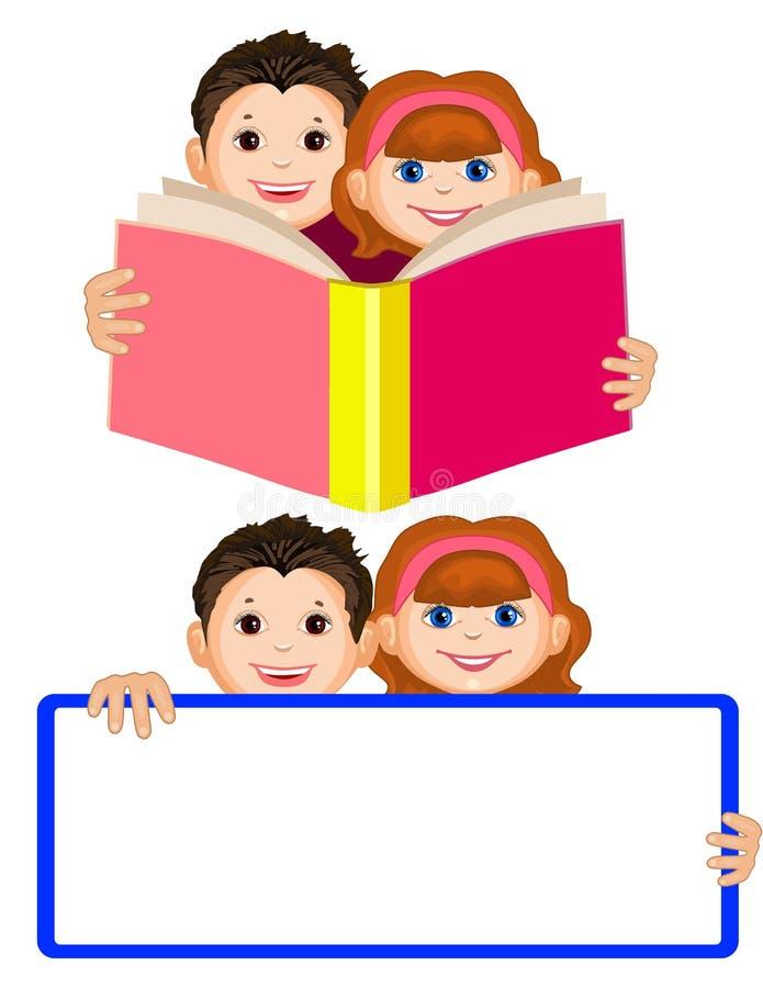 Uśmiechnięta chłopiec i dziewczyna trzyma otwartą książkę przeczytaj dzieci śliczny royalty ilustracja