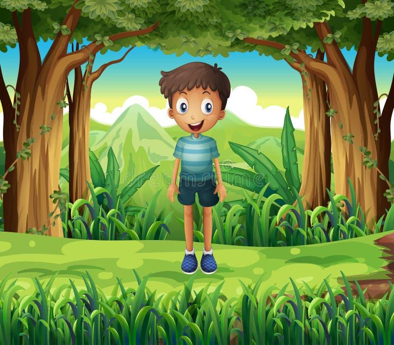 Uśmiechnięta chłopiec w drewnach ilustracja wektor