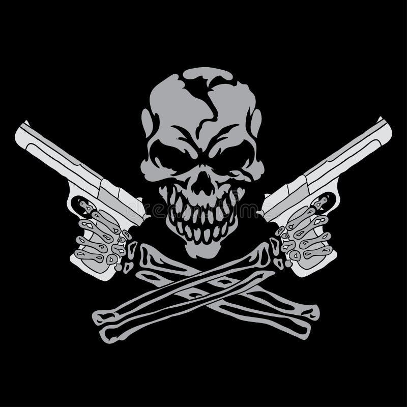 Uśmiechnięta czaszka z pistoletami ilustracji