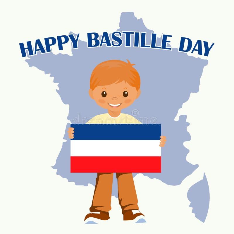 Uśmiechnięta dziecko chłopiec trzyma Francja flaga na białym tle Wektorowa kreskówki maskotka Wakacyjne ilustracje dla Basti royalty ilustracja