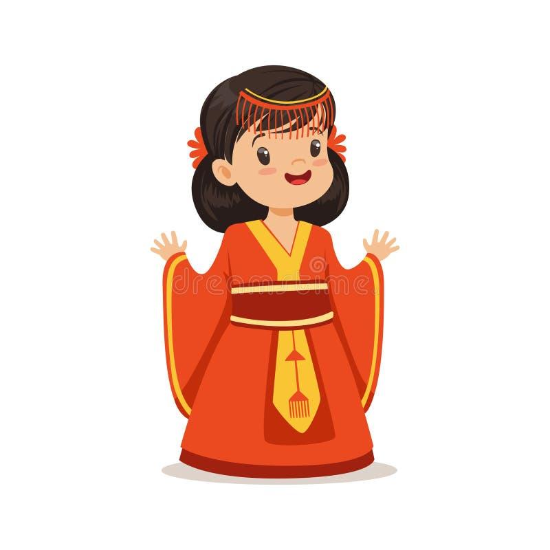 Uśmiechnięta dziewczyna jest ubranym czerwieni suknię, krajowy kostium Porcelanowa kolorowa charakteru wektoru ilustracja royalty ilustracja