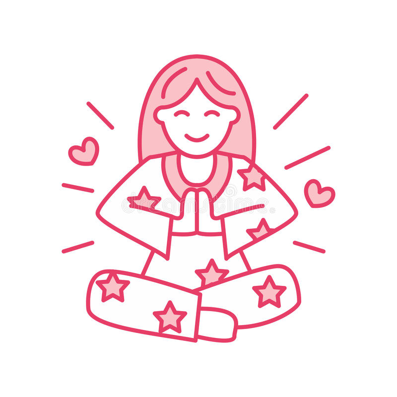 Uśmiechnięta dziewczyna w padmasana, joga wykłada loga Ikona kobiety medytacja ilustracji
