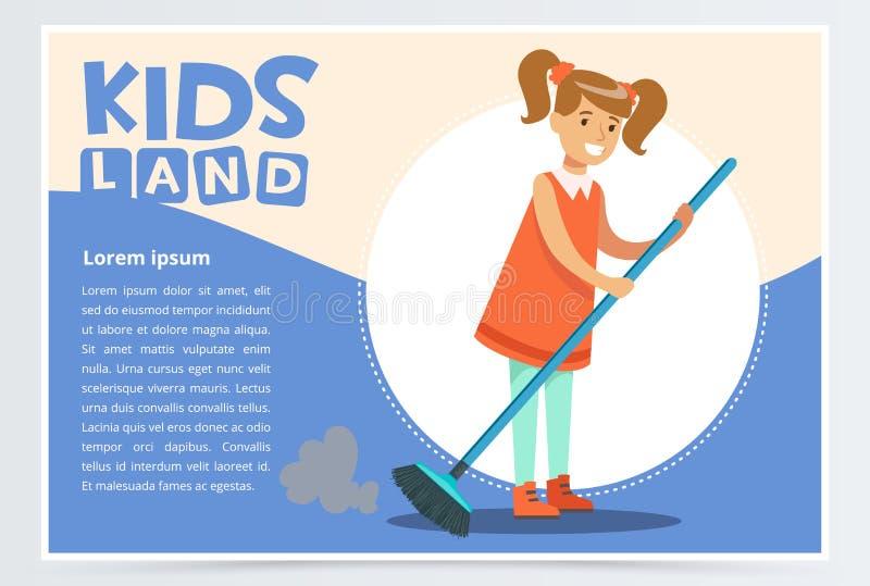 Uśmiechnięta dziewczyna zamiata podłoga w czerwieni sukni Dzieciak pomaga z housekeeping i robi domowemu cleanup Kreatywnie błęki royalty ilustracja