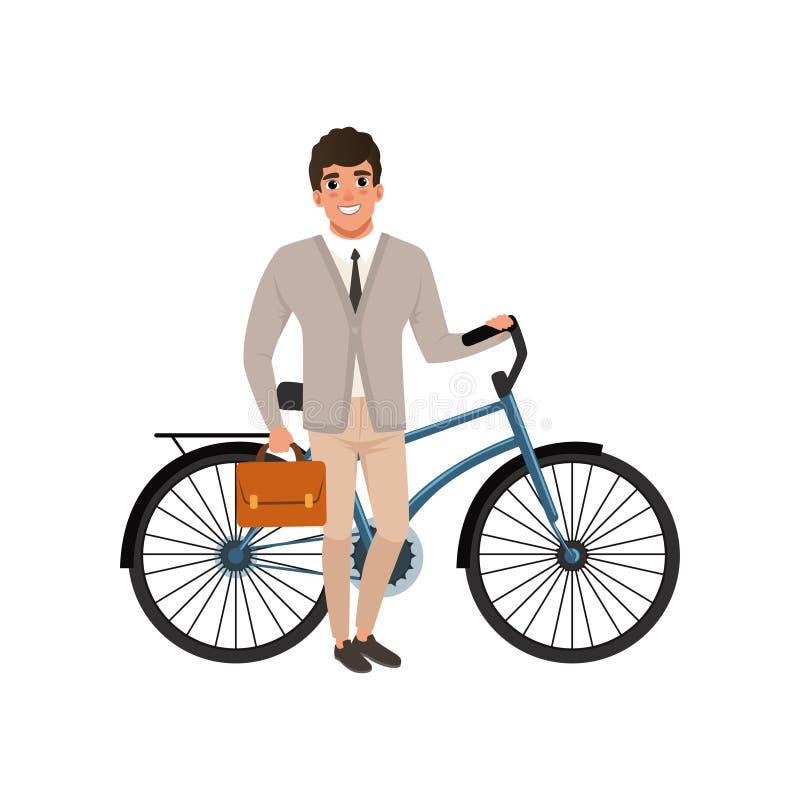 Uśmiechnięta facet pozycja z bicyklem i teczką w ręce Kreskówka mężczyzna w eleganckim odziewa: kardigan, koszula, krawat i spodn ilustracji