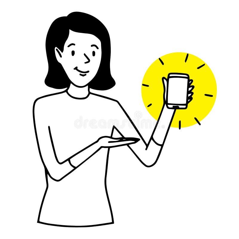 Uśmiechnięta kobieta pokazuje telefon komórkowego Technologii prezentaci sytuacja Wektor odizolowywająca kontur ilustracja ilustracja wektor