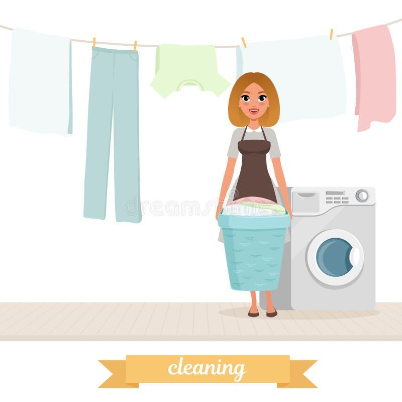 Uśmiechnięta kobieta stoi blisko pralki z pralnianym koszem myjąca odzieżowa osuszka na arkanie gospodyni kreskówka royalty ilustracja