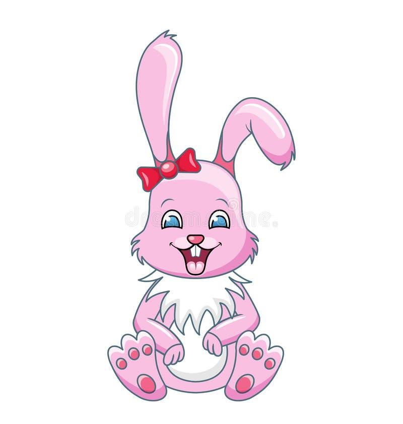 Uśmiechnięta królik kreskówki dziewczyna, Piękny królik, Szczęśliwy Girling Odizolowywający na Białym tle ilustracja wektor