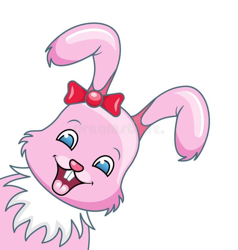 Uśmiechnięta królik kreskówki dziewczyna, Piękny królik, Szczęśliwy Girling Odizolowywający na Białym tle royalty ilustracja