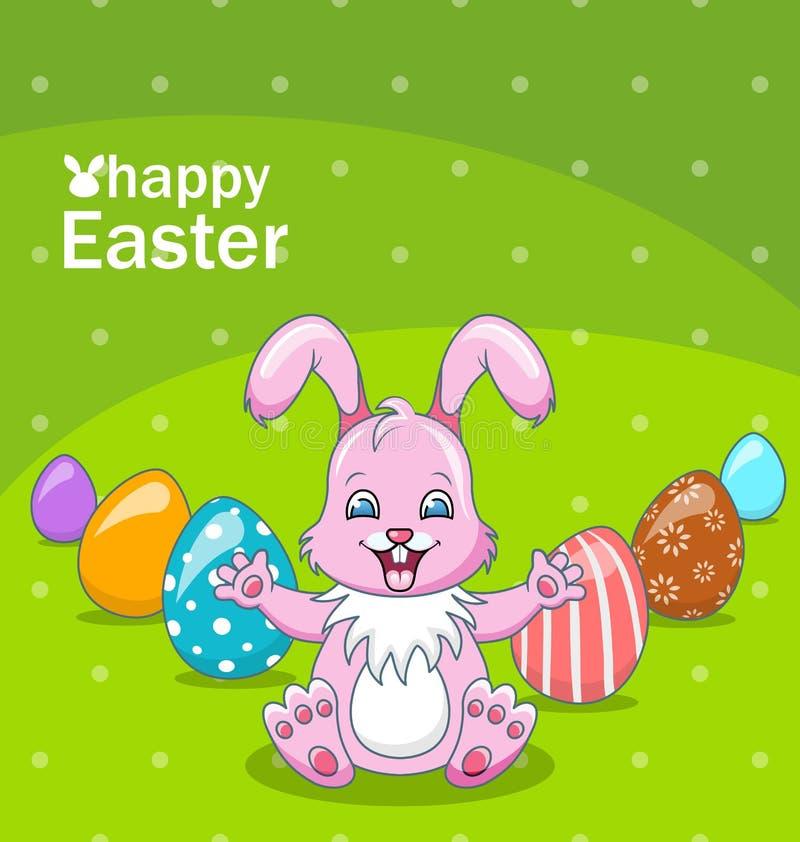 Uśmiechnięta królik kreskówki dziewczyna z jajkami, Piękny królik, Wielkanocny tło ilustracji