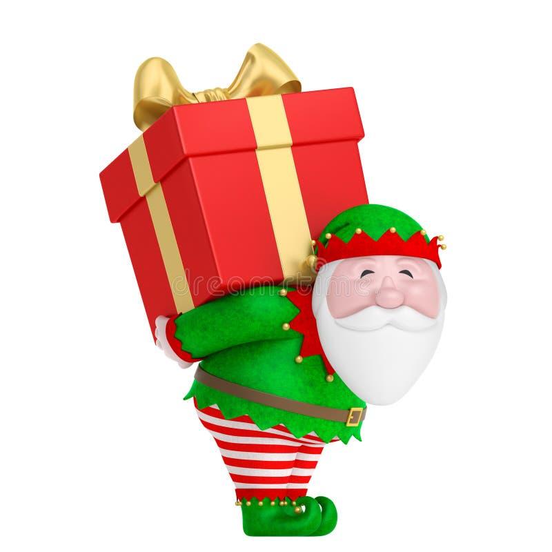 Uśmiechnięta kreskówka Święty Mikołaj lub czarodziejka karzeł w tradycyjnym elfa kostiumu niesiemy na tylnym dużym czerwonym prez ilustracji