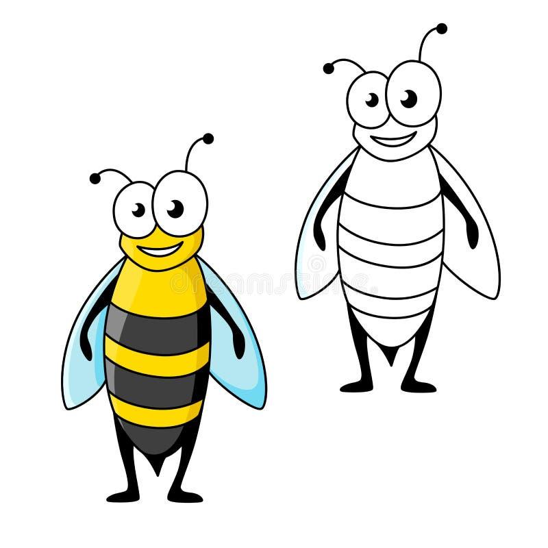 Uśmiechnięta kreskówka koloru żółtego i czerni pasiasta osa ilustracji