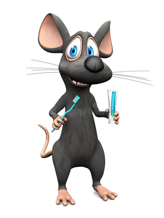 Uśmiechnięta kreskówki mysz przygotowywająca szczotkować jego zęby ilustracja wektor