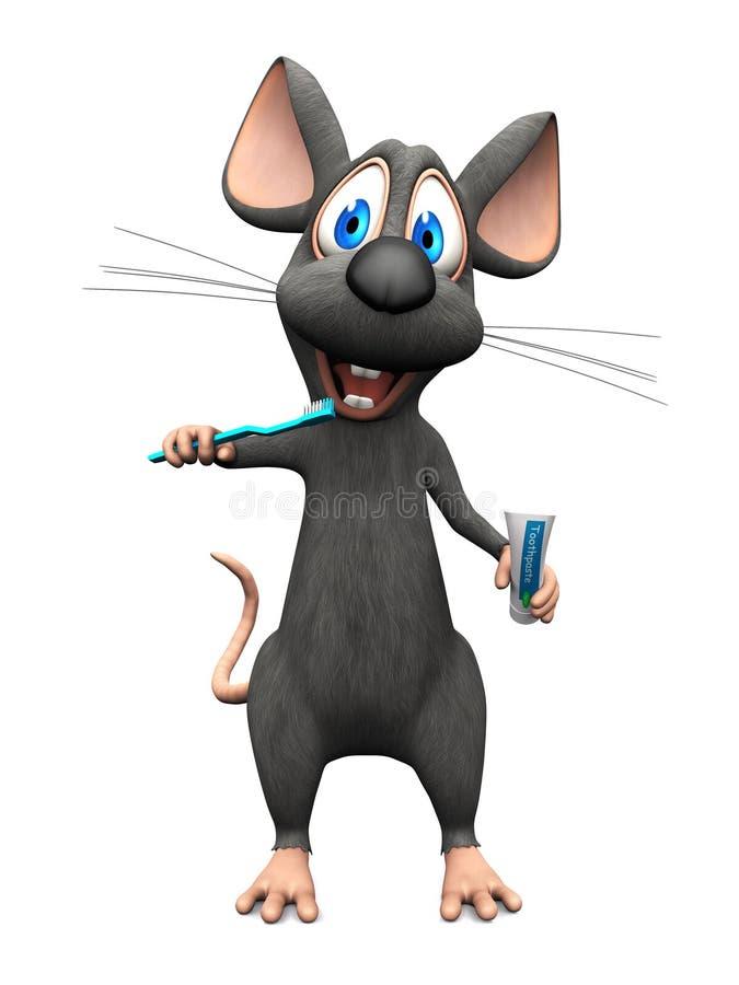 Uśmiechnięta kreskówki mysz szczotkuje jego zęby royalty ilustracja