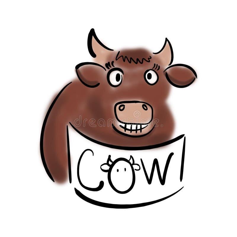 Uśmiechnięta krowa z sztandarem fotografia stock