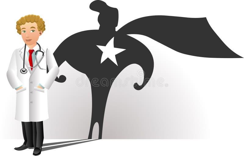 Uśmiechnięta lekarka z bohater sylwetką ilustracji