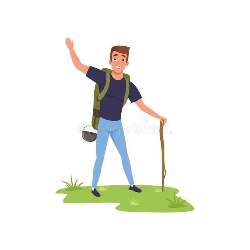 Uśmiechnięta mężczyzna pozycja z plecakiem i materiałem, wycieczkujący turystyczny podróżować, obozować i relaksować, wakacje wek ilustracja wektor