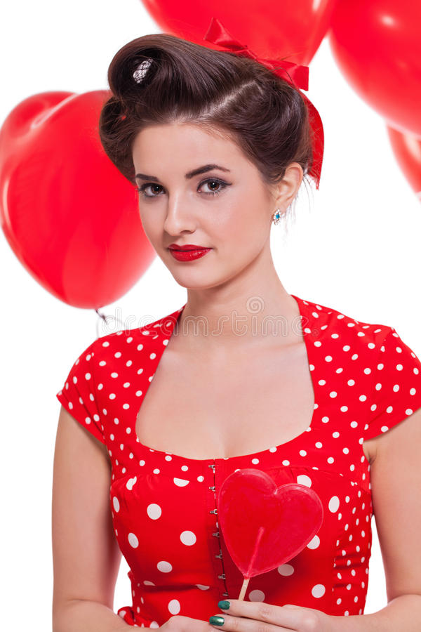 Uśmiechnięta młoda atrakcyjna dziewczyny kobieta z czerwonymi wargami odizolowywać obraz stock