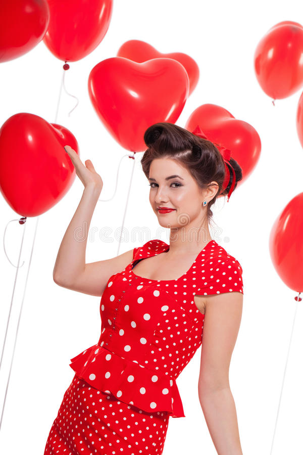 Uśmiechnięta młoda atrakcyjna dziewczyny kobieta z czerwonymi wargami odizolowywać zdjęcie royalty free